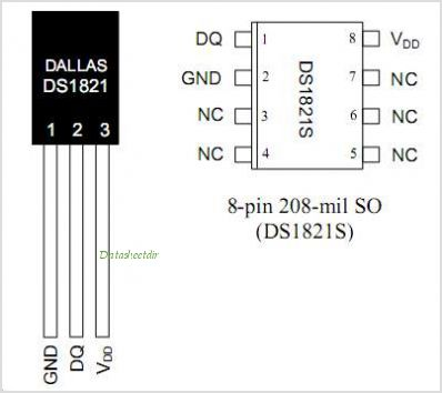 DS1821 pinout,Pin out