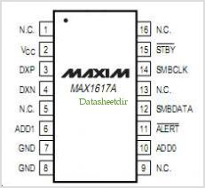 MAX1617A pinout,Pin out