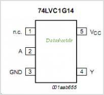 74LVC1G14 pinout,Pin out