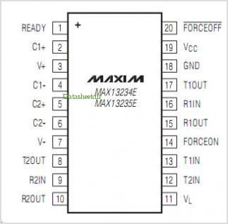 MAX13234E pinout,Pin out