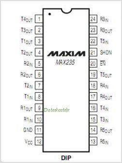MAX235 pinout,Pin out
