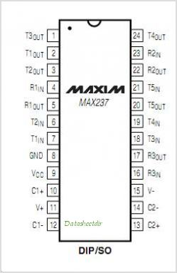 MAX237CWG-T pinout,Pin out