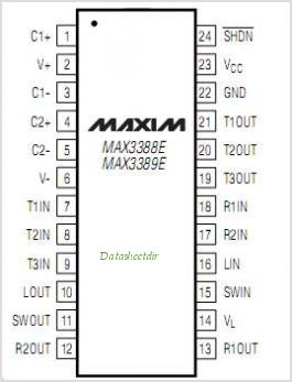 MAX3389E pinout,Pin out