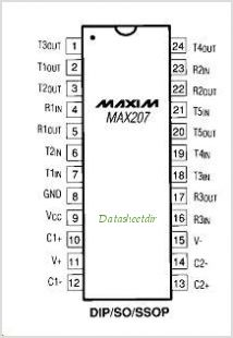 MAX207 pinout,Pin out