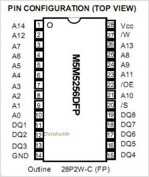 M5M5256DFP-55LL pinout,Pin out