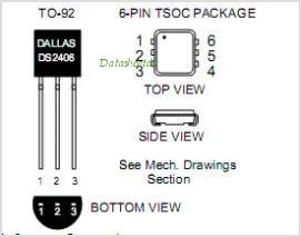 DS2406P-T-R pinout,Pin out