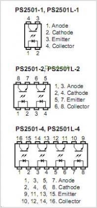 PS2501L-1-E3-A pinout,Pin out