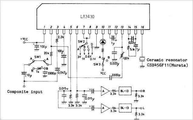 LA3430 datasheet, Pinout ,application circuits VCO Non