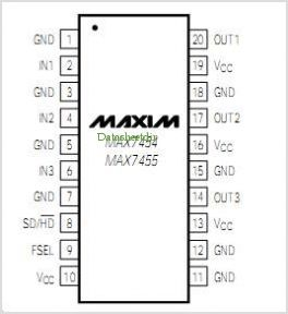 MAX7455 pinout,Pin out