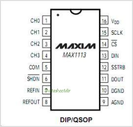 MAX1113 pinout,Pin out