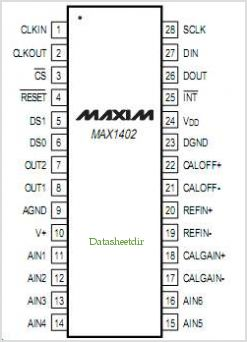 MAX1402 pinout,Pin out