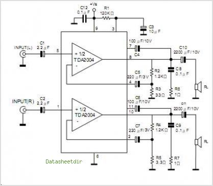 TDA2004L-J11-T Application circuits.