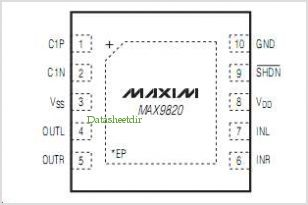 MAX9820 pinout,Pin out