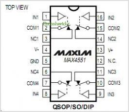 MAX4551 pinout,Pin out