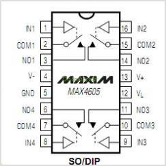 MAX4605 pinout,Pin out