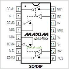 MAX4623 pinout,Pin out