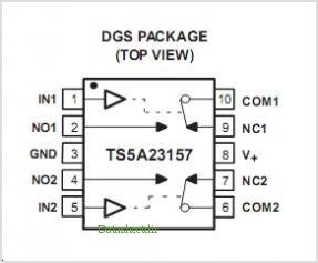 TS5A23157DGSR pinout,Pin out