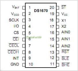 DS1670 pinout,Pin out