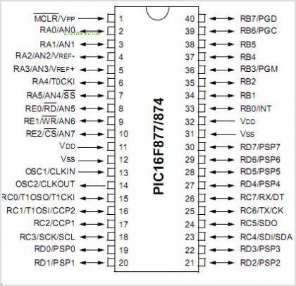 PIC16F876 pinout,Pin out