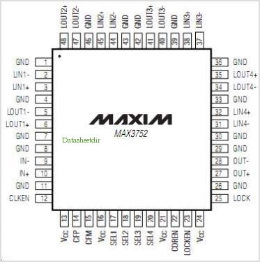 MAX3752 pinout,Pin out