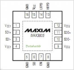 MAX3805 pinout,Pin out