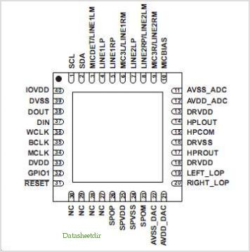 TLV320AIC3007 pinout,Pin out