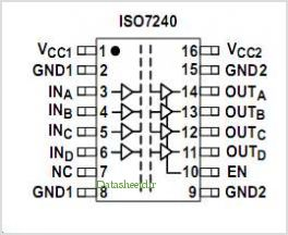 ISO7240 pinout,Pin out
