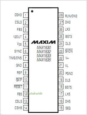 MAX1635 pinout,Pin out