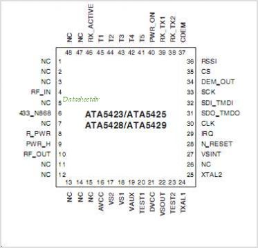 ATA5429-PLSW pinout,Pin out