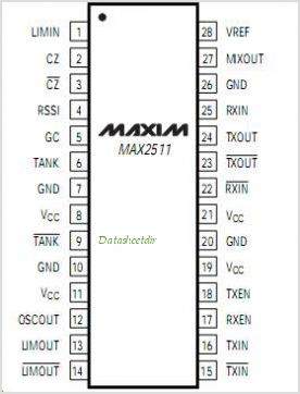 MAX2511EEI-T pinout,Pin out