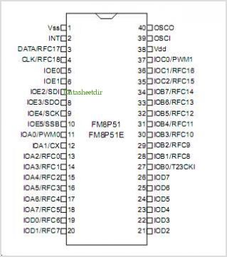 FM8P51 pinout,Pin out