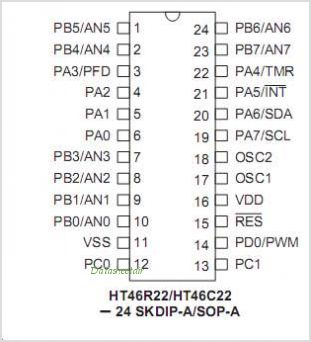 HT46R22 pinout,Pin out