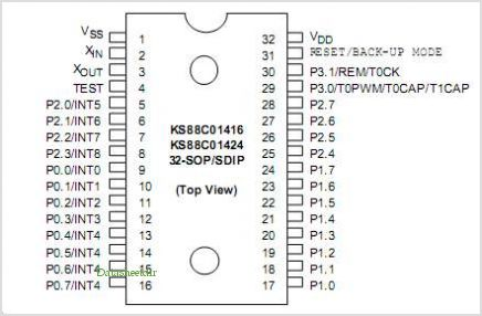 KS88C01416 pinout,Pin out