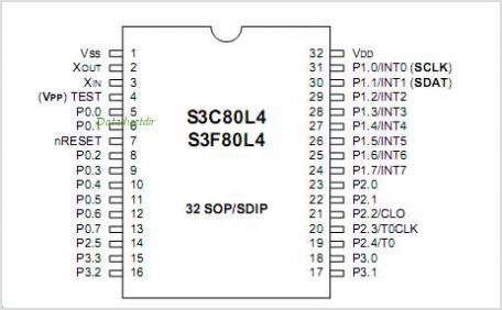 S3C80L4 pinout,Pin out
