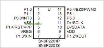 SN8P2203X pinout,Pin out