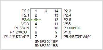 SN8P2501B pinout,Pin out
