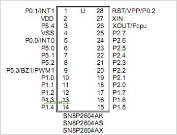 SN8P26042A pinout,Pin out