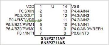 SN8P2711A pinout,Pin out