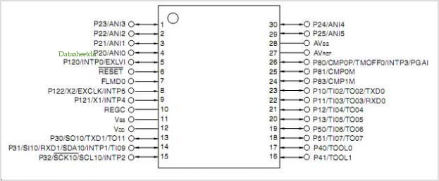 UPD78F1203 pinout,Pin out