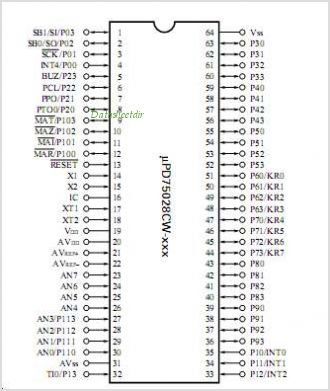 UPD75028 pinout,Pin out