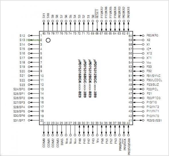 UPD75312B pinout,Pin out