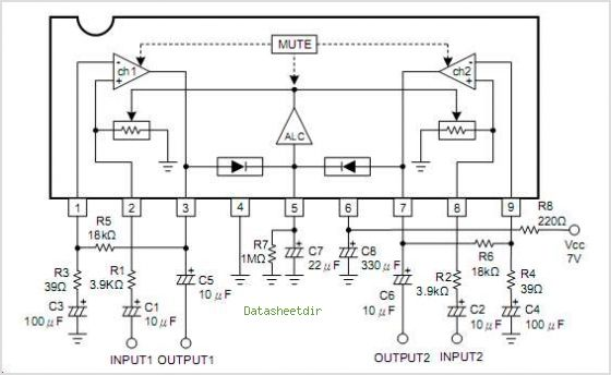 Datasheet) ba3308 pdf audio ics dual preamplifier with alc.