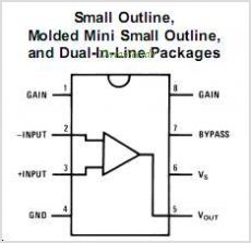 LM386MX-1 pinout,Pin out