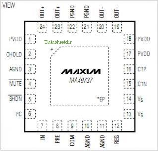 MAX9737 pinout,Pin out
