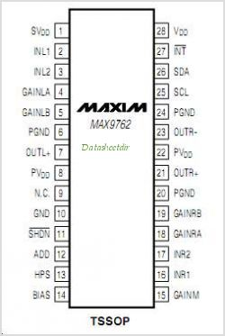MAX9763ETI pinout,Pin out