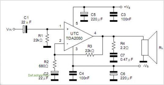 This is one application circuit of TDA2050,If you need more circuits,please download...