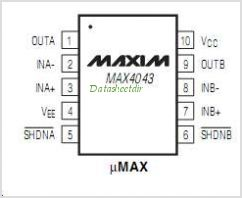 MAX4043 pinout,Pin out