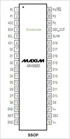 MAX6955 pinout,Pin out