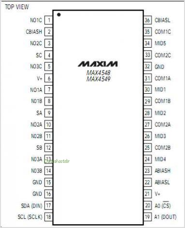 MAX4548 pinout,Pin out