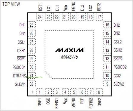 MAX8775 pinout,Pin out